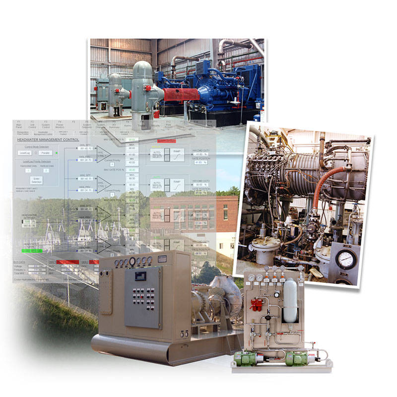 Collage of compressor anti-surge control systems and generator controls provided by Petrotech in New Orleans, LA
