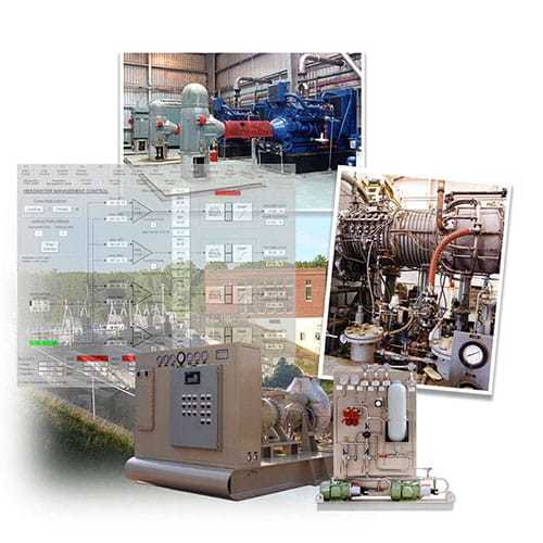 Examples of gas and steam turbines, generator control systems, reciprocating compressor controls, and auxiliary control systems from Petrotech in North America