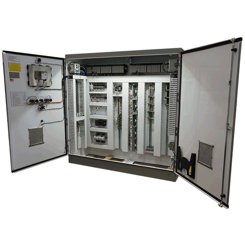 An open control system cabinet from Petrotech in Europe