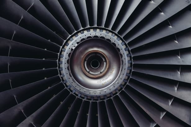 A close up of a turbine